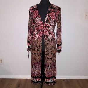 Angie button front kimono with floral print